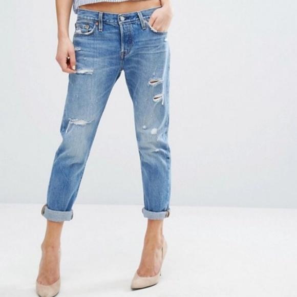 detailed look 2019 hot sale autumn shoes Levi's 501 Distressed Taper Boyfriend Jeans